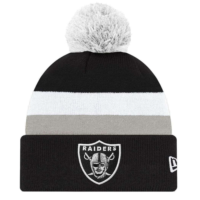 Oakland Raiders New Era NFL Team Stripe Knit Beanie - Black