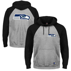 Seattle Seahawks Majestic NFL Raglan Marle Hoodie Jumper - Black/Steele