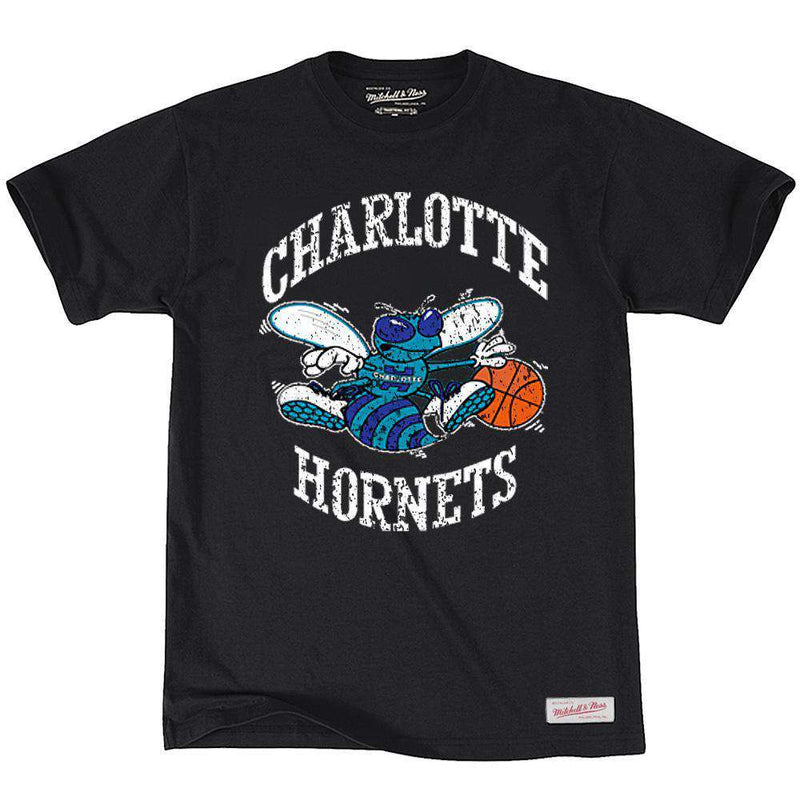 Charlotte Hornets Mitchell & Ness NBA Distressed HWC T-Shirt - Black