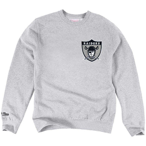Oakland Raiders Mitchell & Ness NFL Playoff Win 2 Crew Jumper - Grey