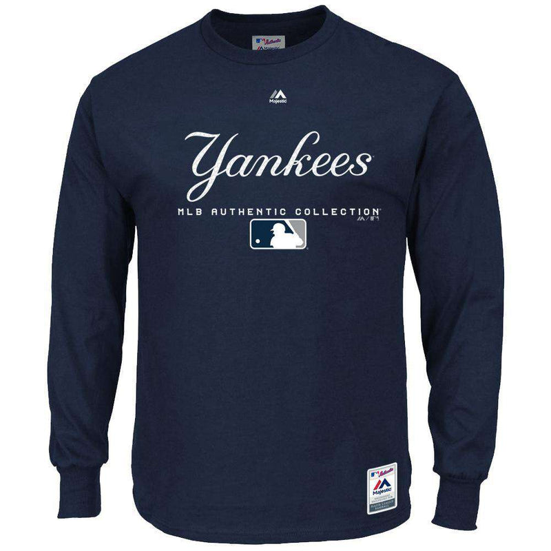 New York Yankees Majestic MLB Team Drive Long Sleeve T-Shirt - Navy