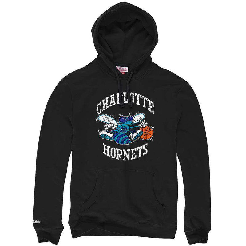 Charlotte Hornets Mitchell & Ness NBA HWC Distressed Hoodie Jumper - Black