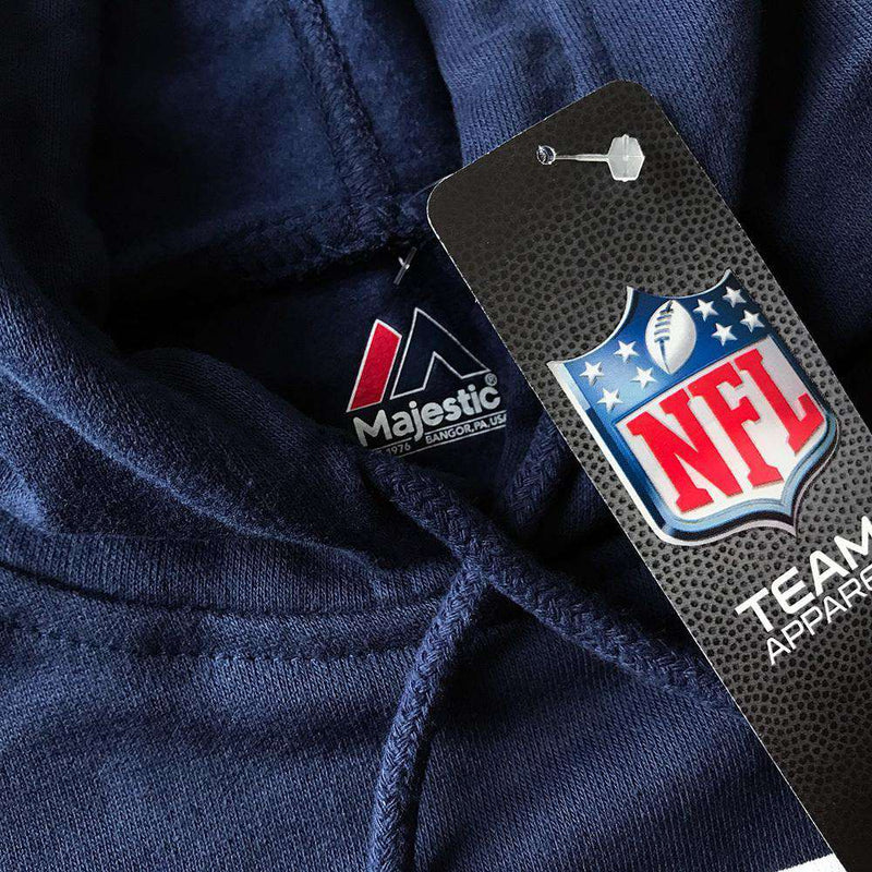 New England Patriots Majestic NFL Tek Patch Hoodie Jumper - Navy
