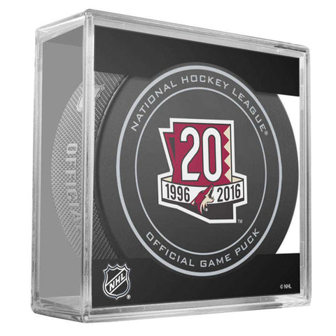 Arizona Coyotes Sher-Wood NHL Anniversary Puck w/Case