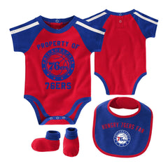 Infants Philadelphia 76ers Outerstuff NBA Rebound Creeper Bib & Bootie Set - Blue
