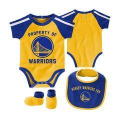 Infants Golden State Warriors Outerstuff NBA Rebound Creeper Bib & Bootie Set - Blue