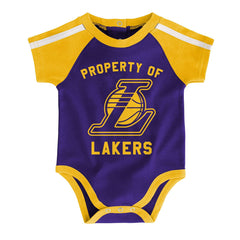 Newborns Los Angeles Lakers Outerstuff NBA Rebound Creeper Bib & Bootie Set - Yellow