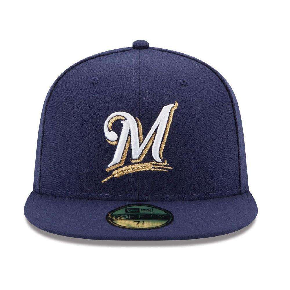 30716ef4e6b Milwaukee Brewers New Era MLB AC On-Field 59FIFTY Fitted Hat - Navy