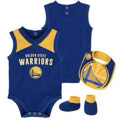 Infant Golden State Warriors Outerstuff NBA Creeper Bib Bootie Set - Blue