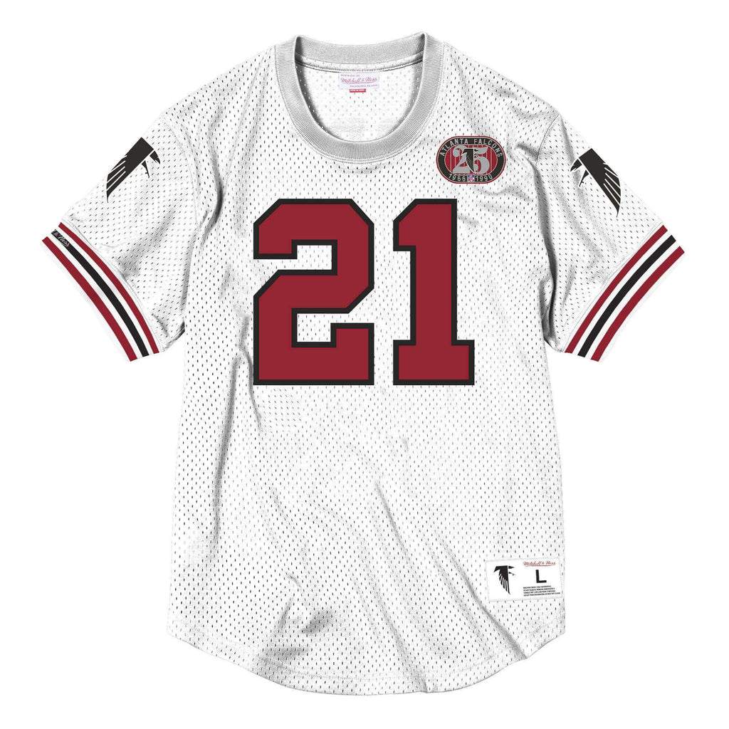 uk availability d1253 e112c Deion Sanders Atlanta Falcons Mitchell & Ness NFL Name Number Mesh Crew -  White