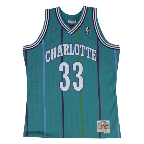 Alonzo Mourning Charlotte Hornets Mitchell & Ness NBA Swingman Jersey - Teal