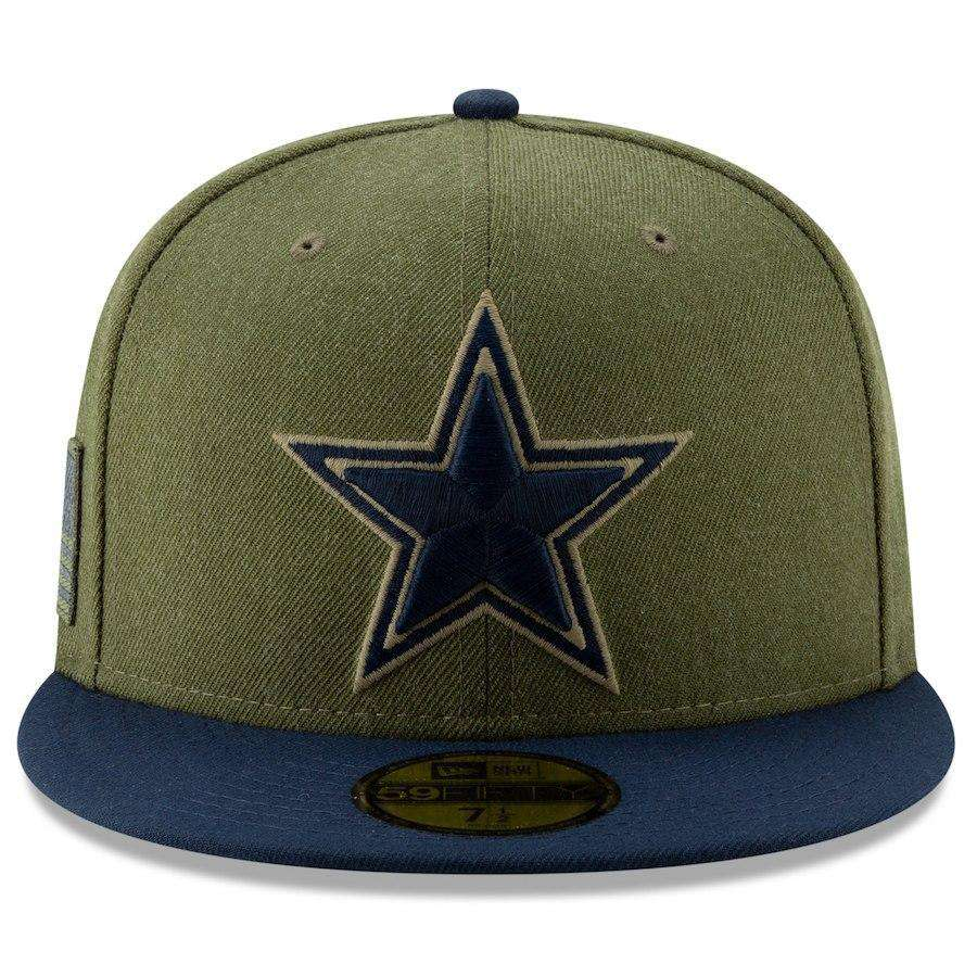 0c68ad80f80 Dallas Cowboys New Era NFL 2018 Salute To Service 59FIFTY Fitted Hat - Olive
