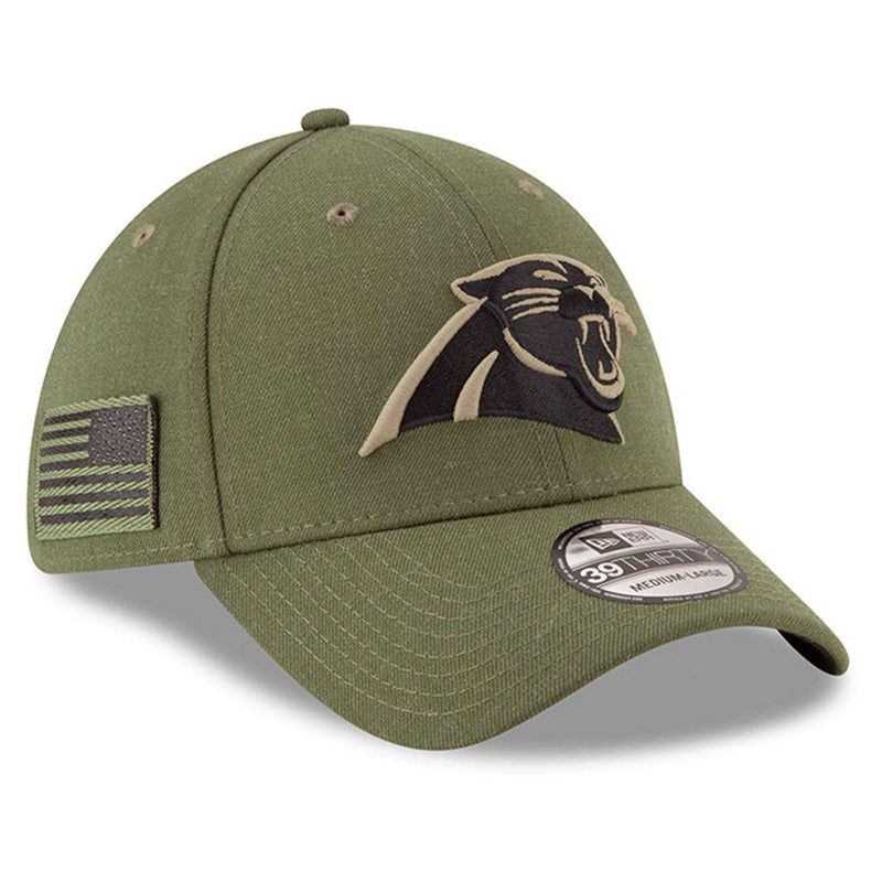 Carolina Panthers New Era NFL 2018 Salute To Service 39THIRTY Stretch-Fit Curved Hat