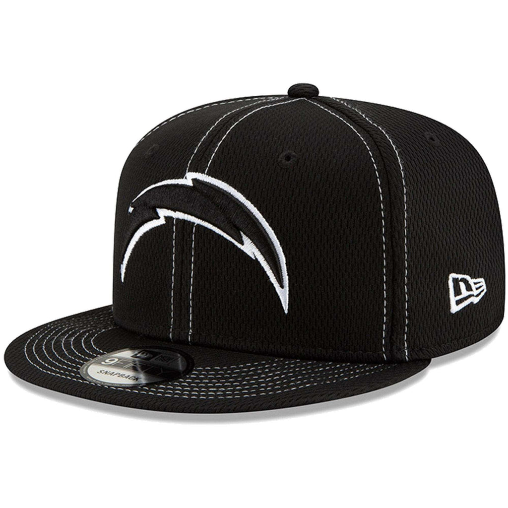 80111d2b8 Los Angeles Chargers New Era NFL 2019 Sideline Road Black & White 9FIFTY  Snapback Hat