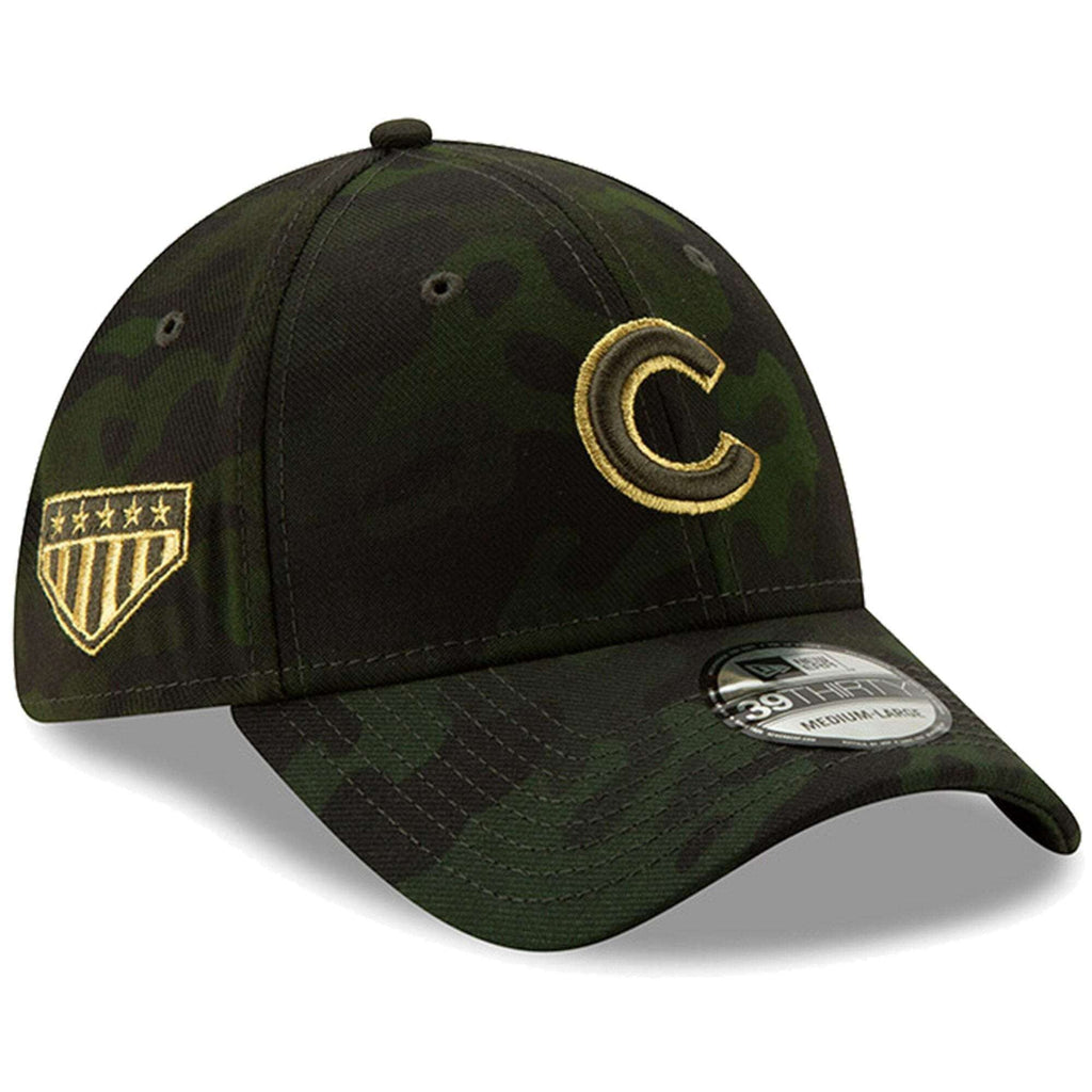 meet c6fc2 7edef Chicago Cubs New Era MLB 2019 Armed Forces 39THIRTY Stretch Fit Curved Hat  - Camo