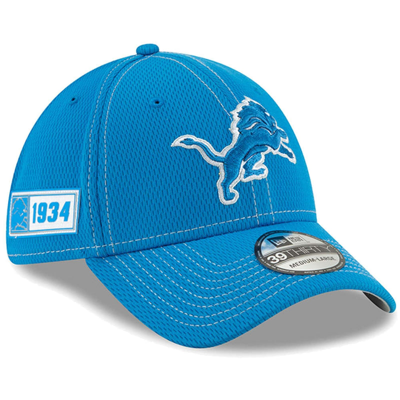 Detroit Lions New Era NFL 2019 Sideline Road 39THIRTY Stretch-Fit Curve Hat - Blue