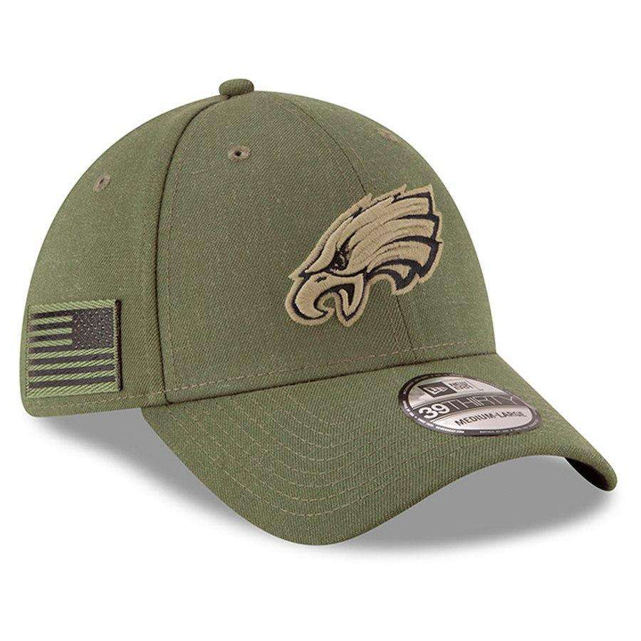 c1502e3500533 ... new style philadelphia eagles new era nfl 2018 salute to service  39thirty stretch fit curved hat