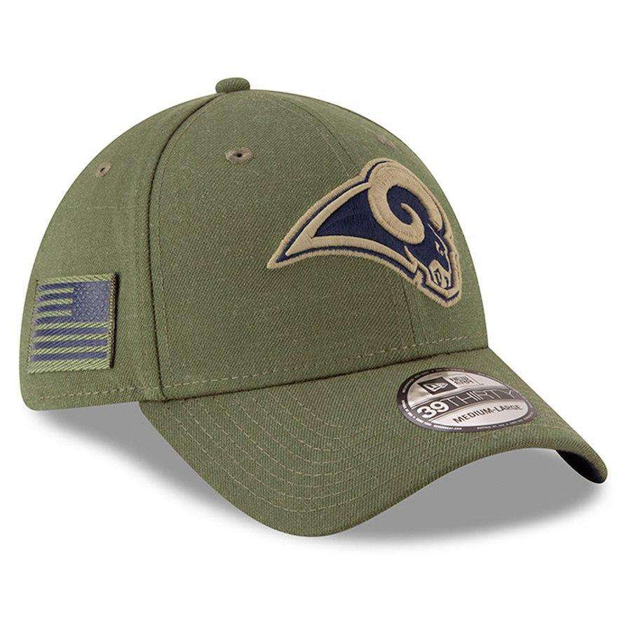 pretty nice db22e e648a Los Angeles Rams New Era NFL 2018 Salute To Service 39THIRTY Stretch-Fit  Curved Hat