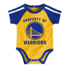 Newborns Golden State Warriors Outerstuff NBA Rebound Creeper Bib & Bootie Set - Blue