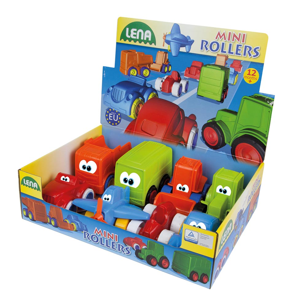 LENA Set: Bus, Cab, Convertible, Car, Tractor, Loader, Racing Car and Plane