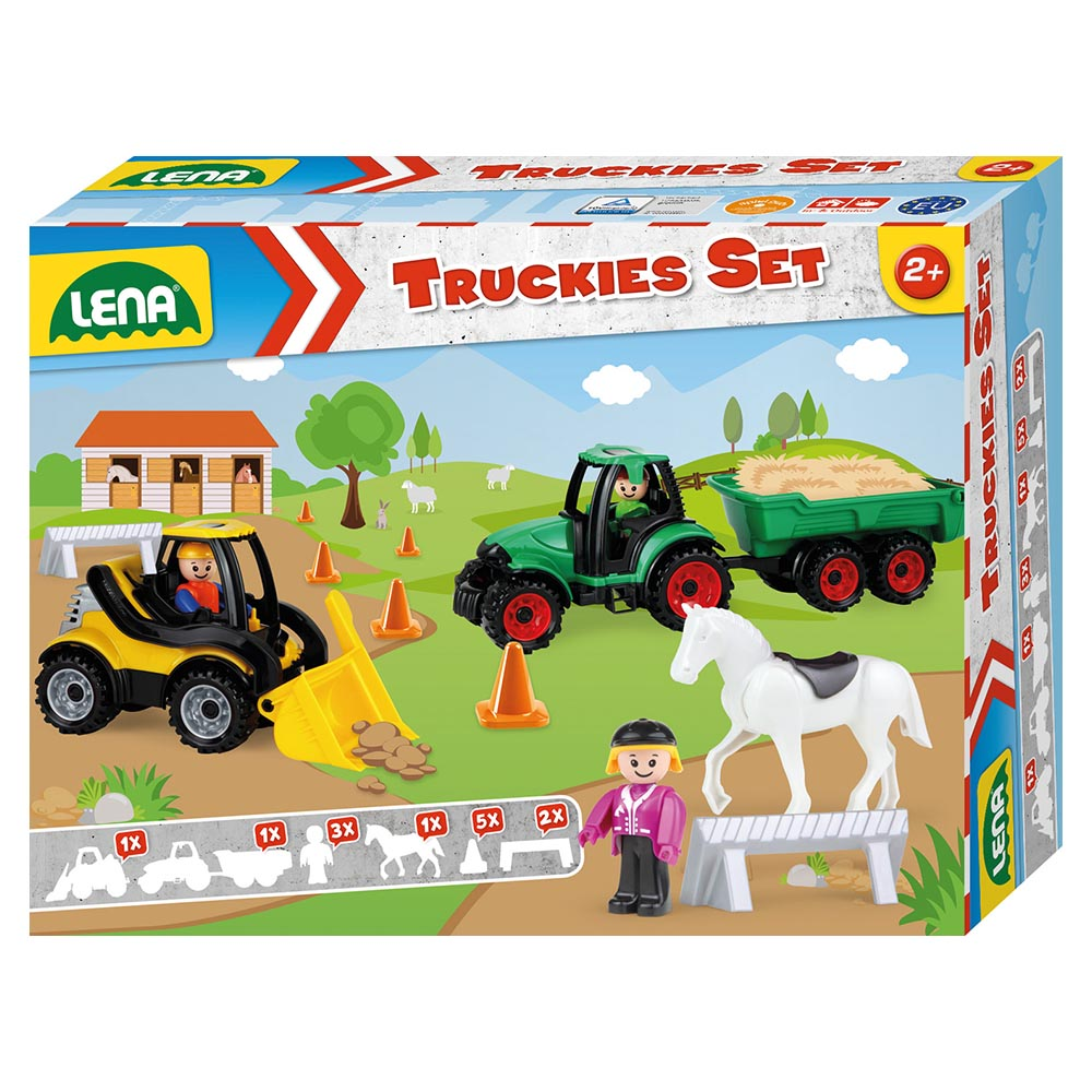 LENA Toy Farm Set: TRUCKIES Loader, Tractor, Figurines, Horse, Cones, Gates