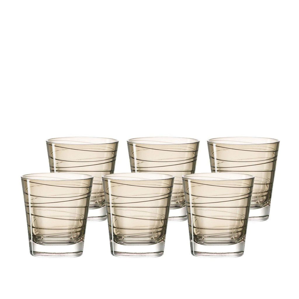 Leonardo Drinking Glass Tumbler - Chestnut Brown VARIO 6 Piece