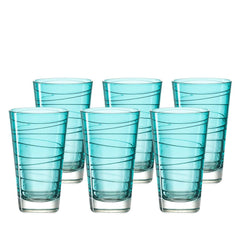 Leonardo Tall Drinking Glass - Lagoon Blue VARIO 6 Piece