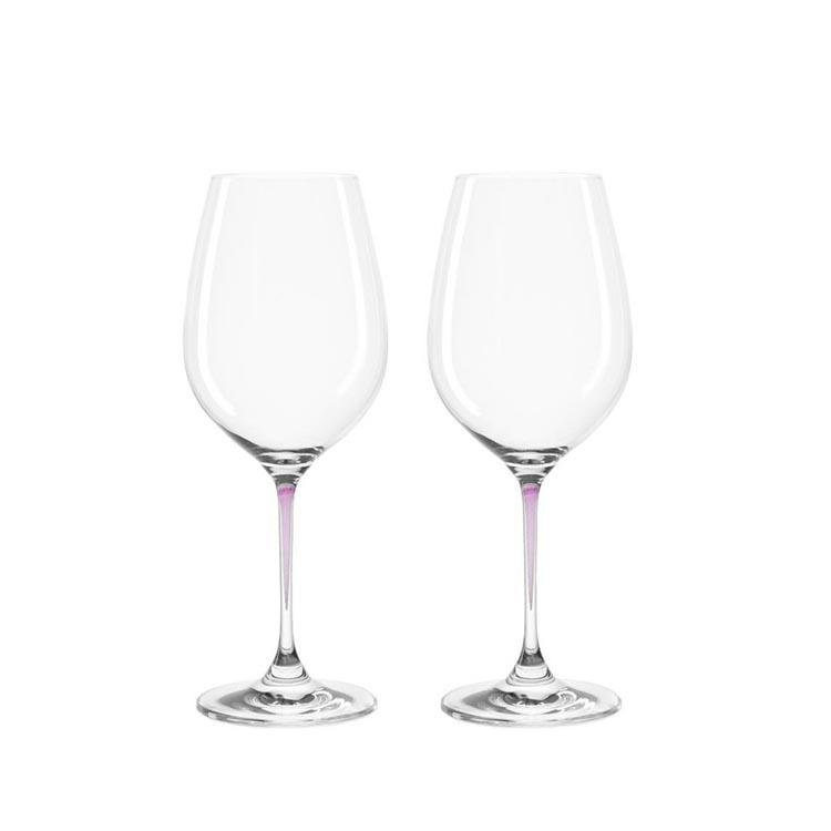 Leonardo Clear Wine Glass Set Purple Stem