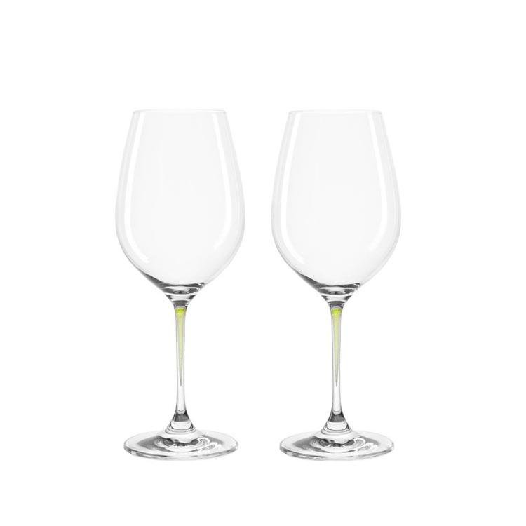 Leonardo Clear Wine Glass Set Green Stem