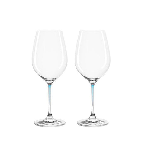 Leonardo Clear Wine Glass Set Blue Stem