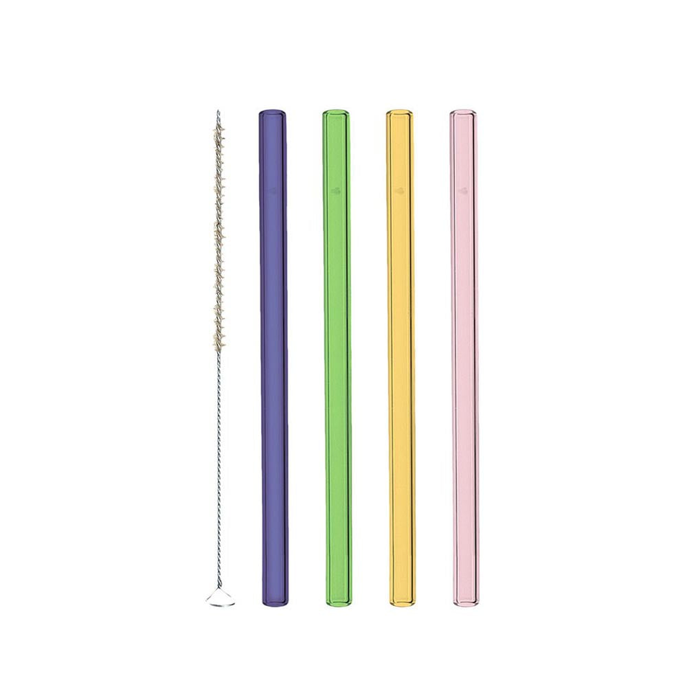 Leonardo Glass Straws Various Colours + Cleaning Brush Ciao 15cm – Set of 4