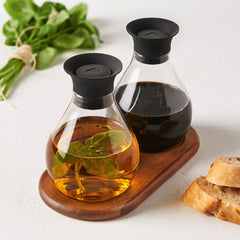 Leonardo Oil and Vinegar Serving Set Firenze Glass and Wood - 3 Pieces