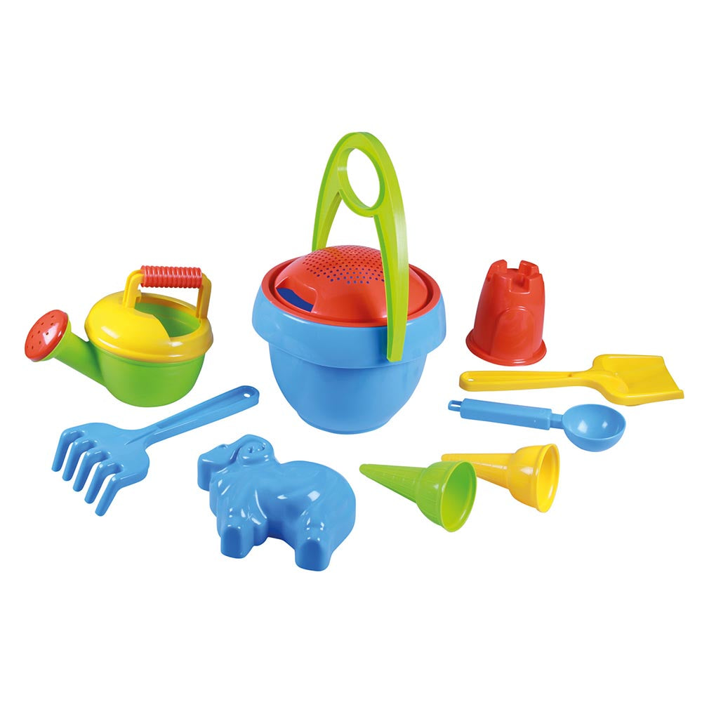 LENA Sandpit Toys Set including Bucket, Sieve, Rake, Moulds Etc - 10 Pieces