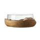 Leonardo Glass Bowl in Teak Bowl Base TERRA 28cm