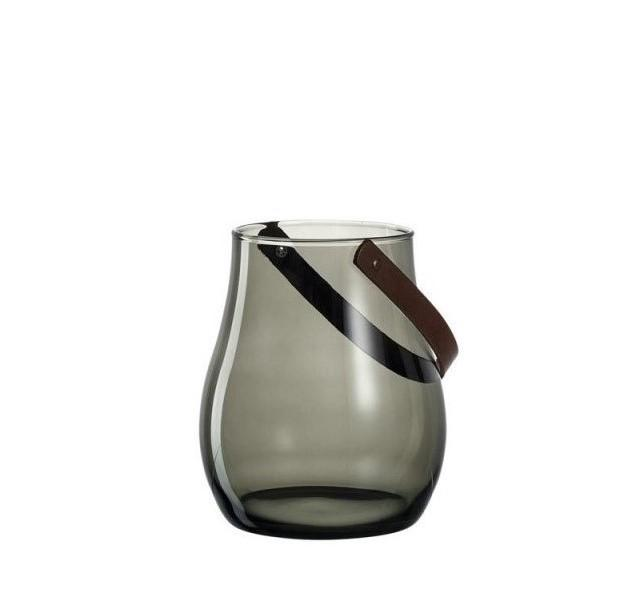 Leonardo Grey Glass Hurricane Lamp with Leather Handle GIARDINO 22cm