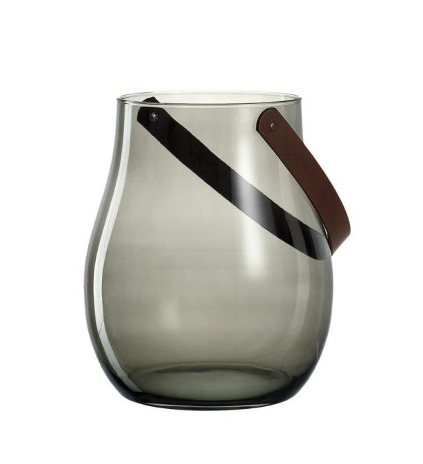 Leonardo Grey Glass Hurricane Lamp with Leather Handle GIARDINO 32cm
