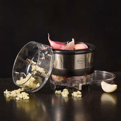 Roesle Garlic Cutter with Twist Mechanism and Storage Compartment
