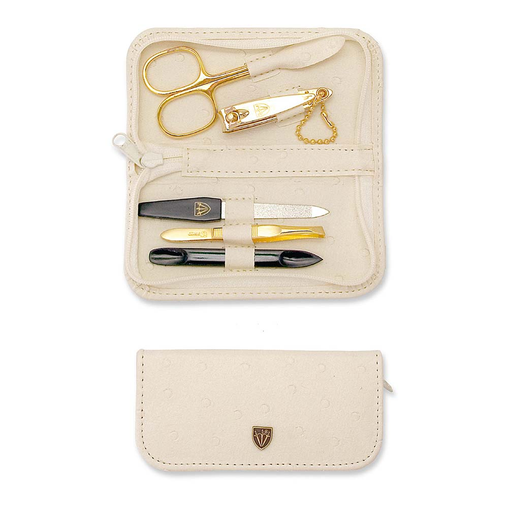 Kellermann 3 Swords Manicure Set Ostrich Beige 7407 P G