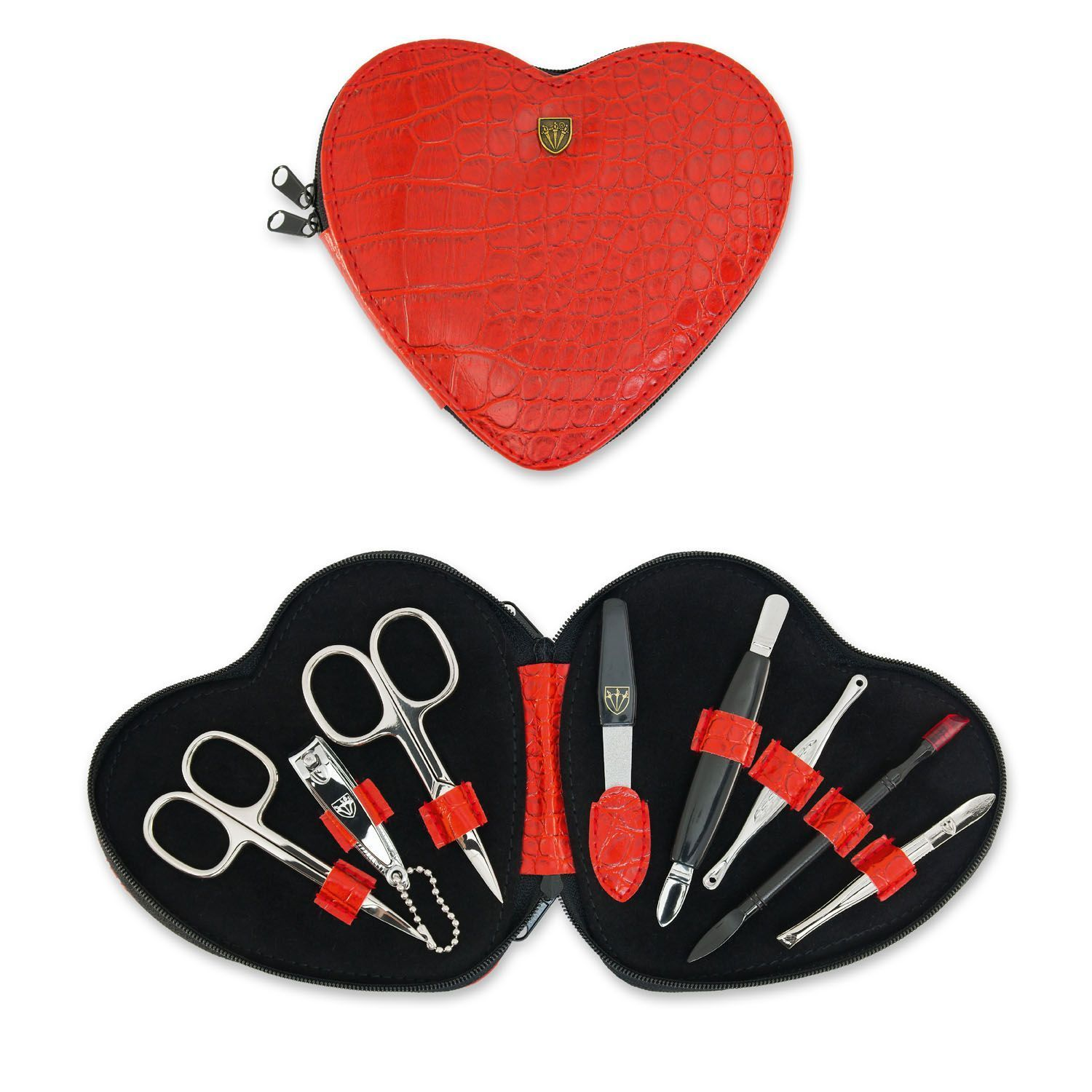 Kellermann Manicure Set Heart Croco Red 8 Pieces