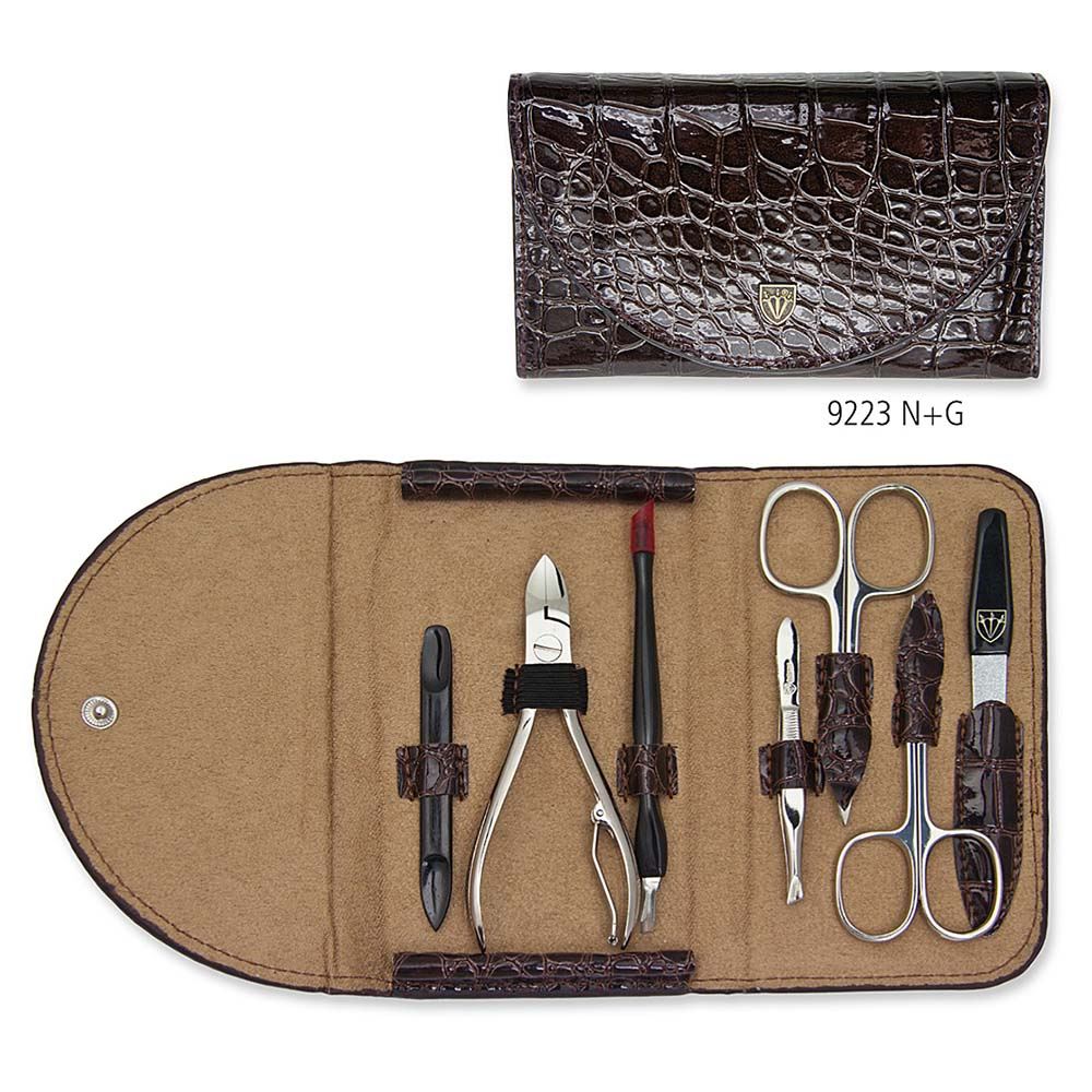 Kellermann Manicure Set Croco Brown, Fashion Material 7 Pieces