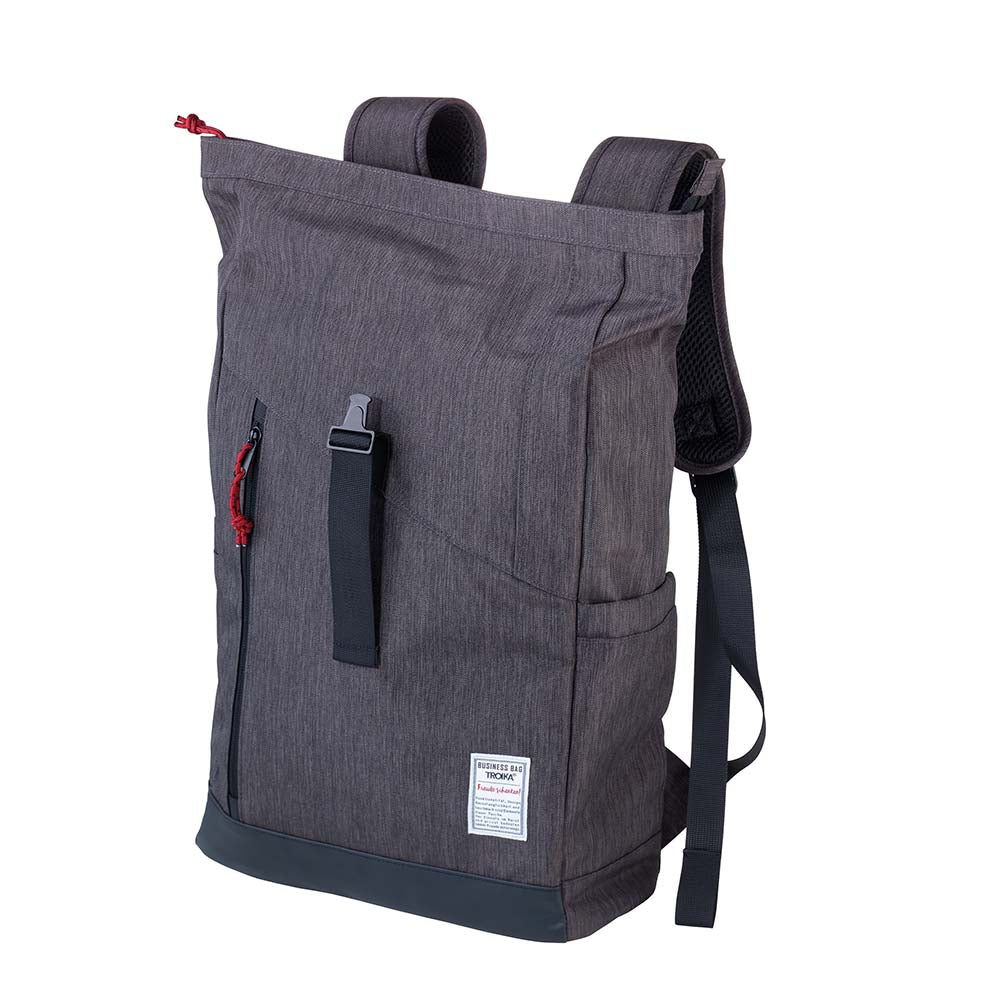 Troika Roll Top Backpack with Metal Snap Closure - Business Rolltop