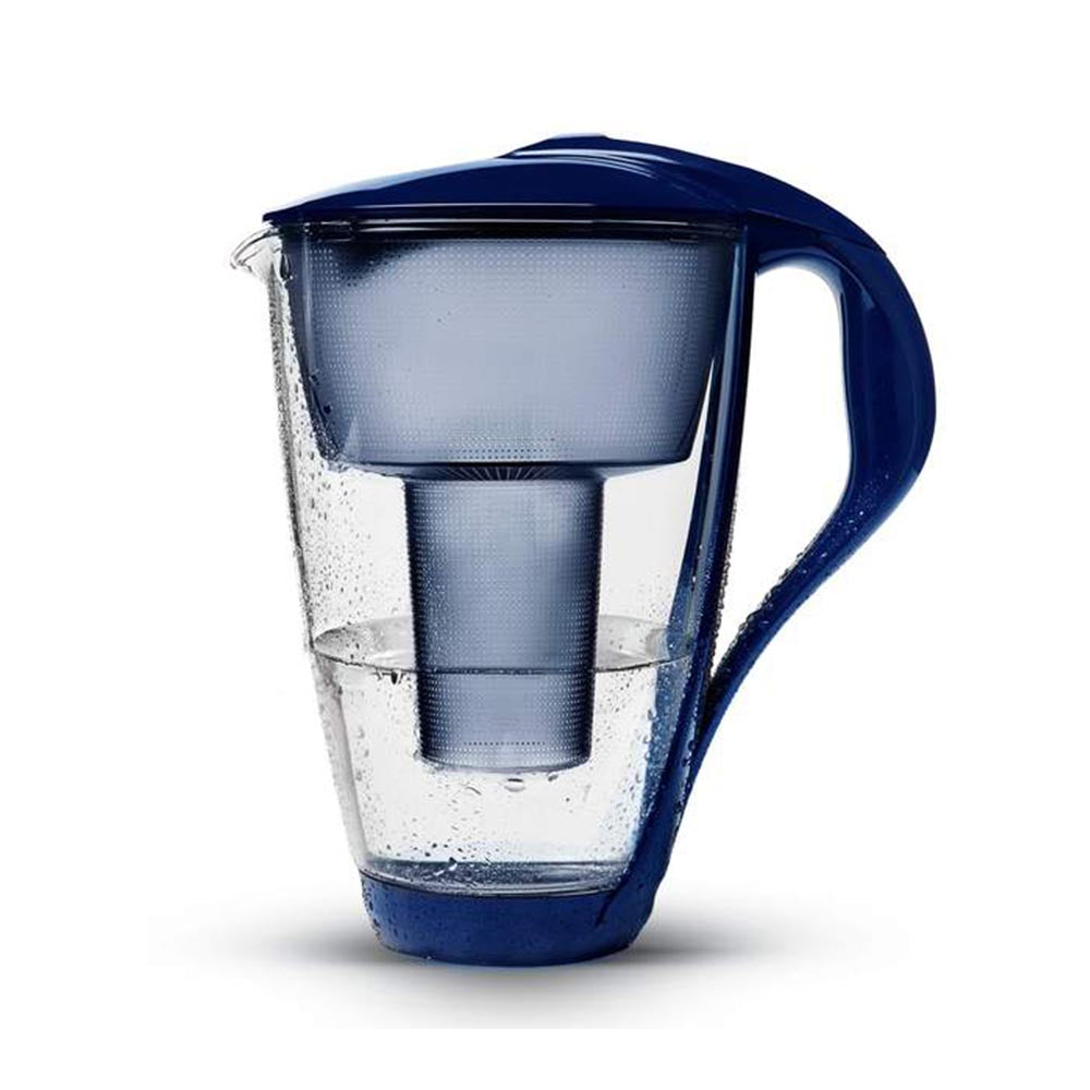 PearlCo Glass Water Filter Jug - Dark Blue