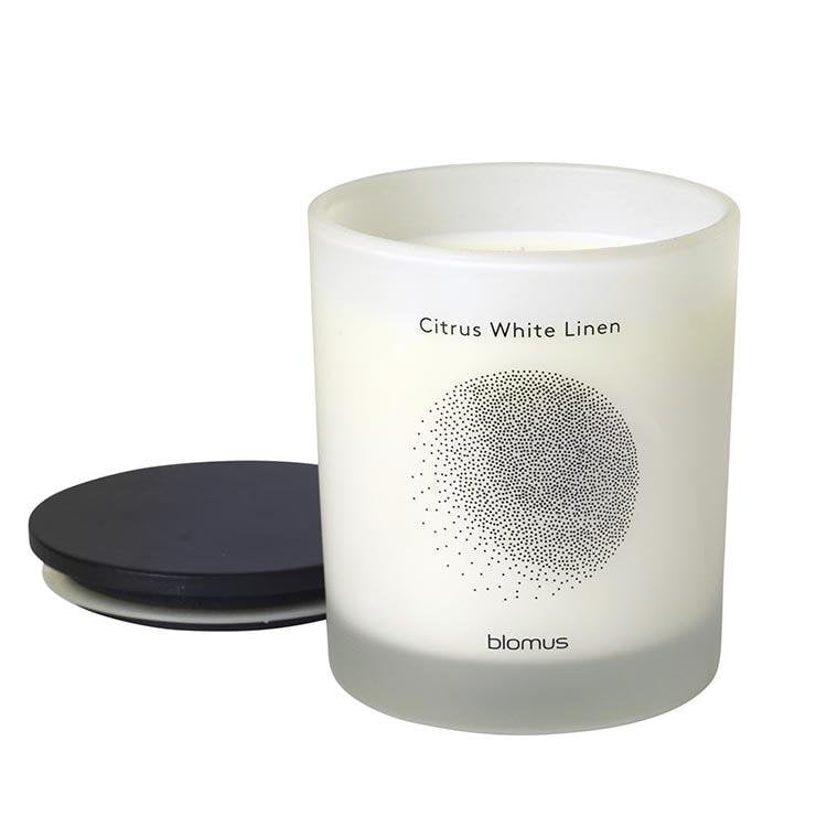 Blomus Scented Candle with Hardwood Lid Citrus White Linen Clear Flavo - Large