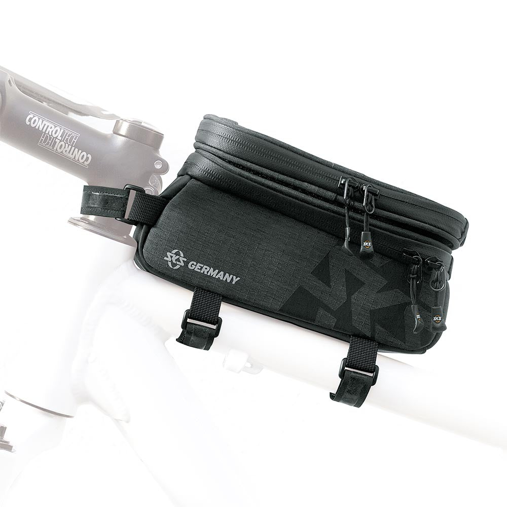 SKS Bike Top Tube Bag with Clear Smartphone Pouch - TRAVELLER SMART Black