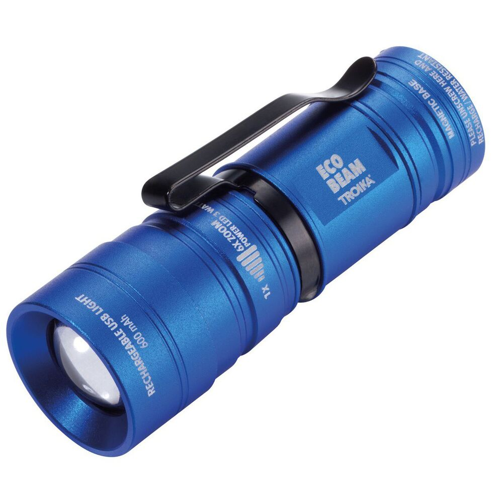 TROIKA Rechargeable Mini Torch-Volkswagen Engraving ECO BEAM VW – Blue
