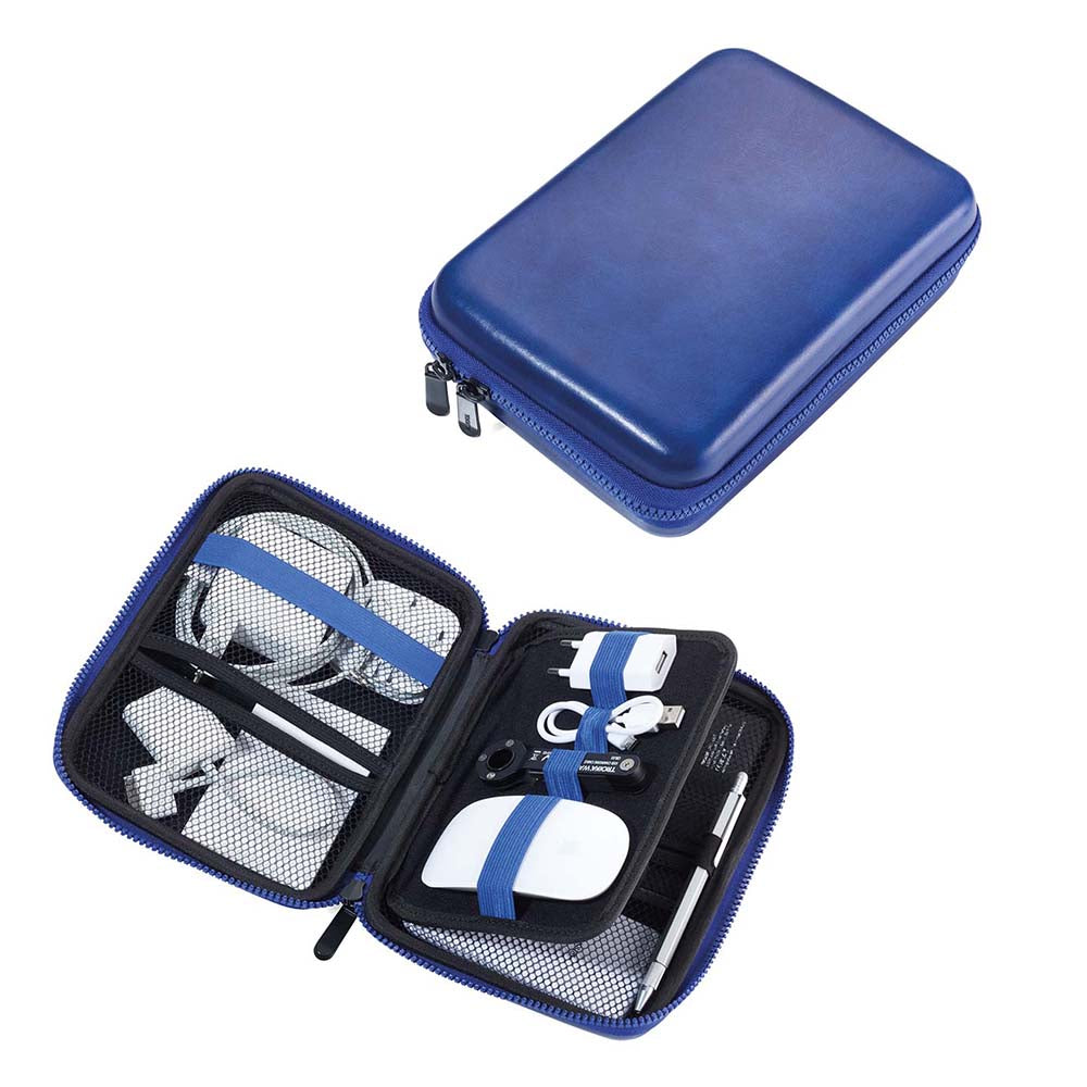 TROIKA Organiser Travel Case with Zipper - Blue