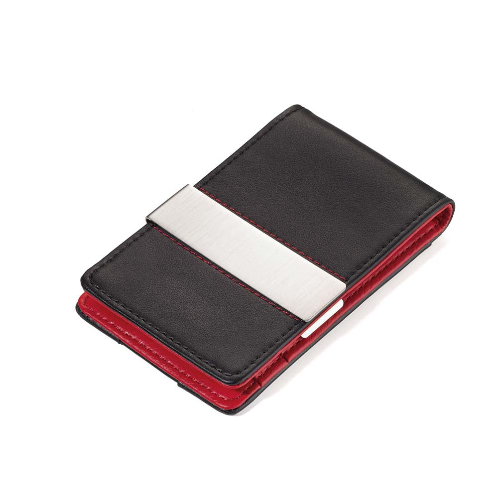 TROIKA RFID Shielding Credit Card Case with Money Clip - Black & Red