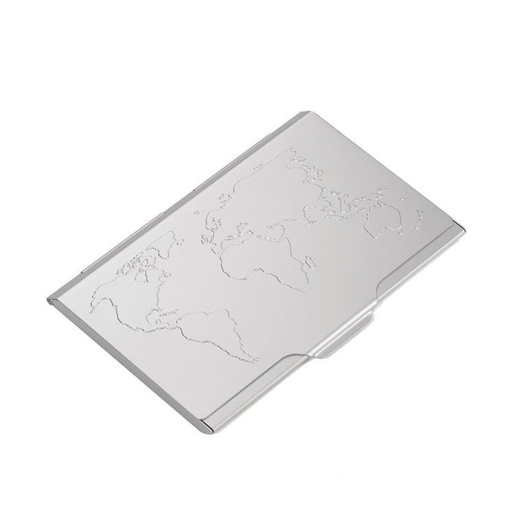 TROIKA Business Card Case with Embossed World Map - Silver