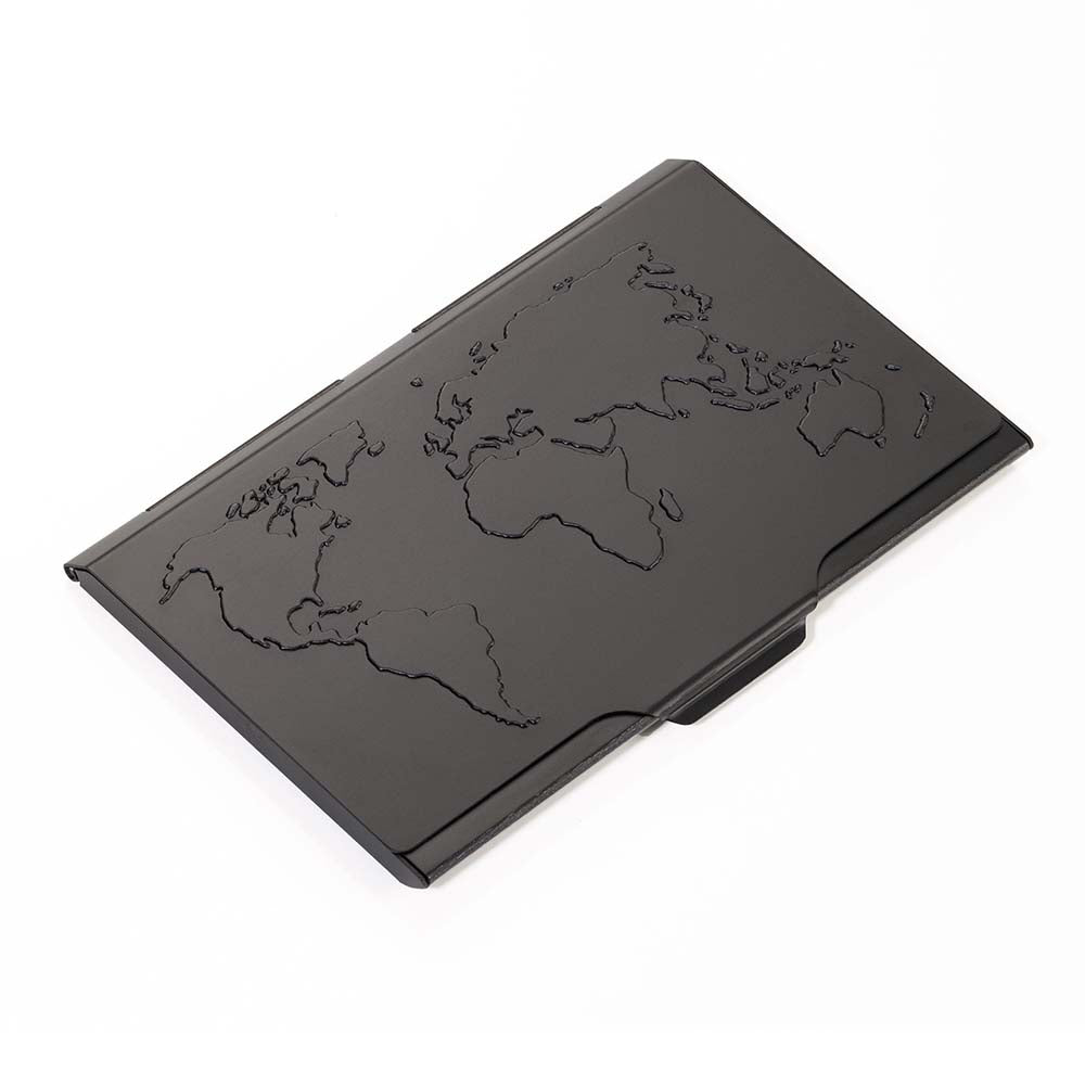 TROIKA Business Card Case with Embossed World Map - Black