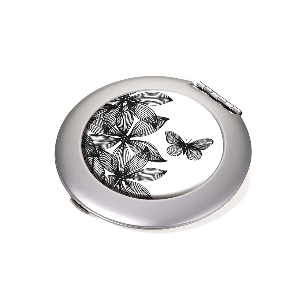 Troika Magnifying Pocket Mirror - Black Flowers